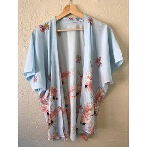 Other - Rose Bird Print Open Front Kimono